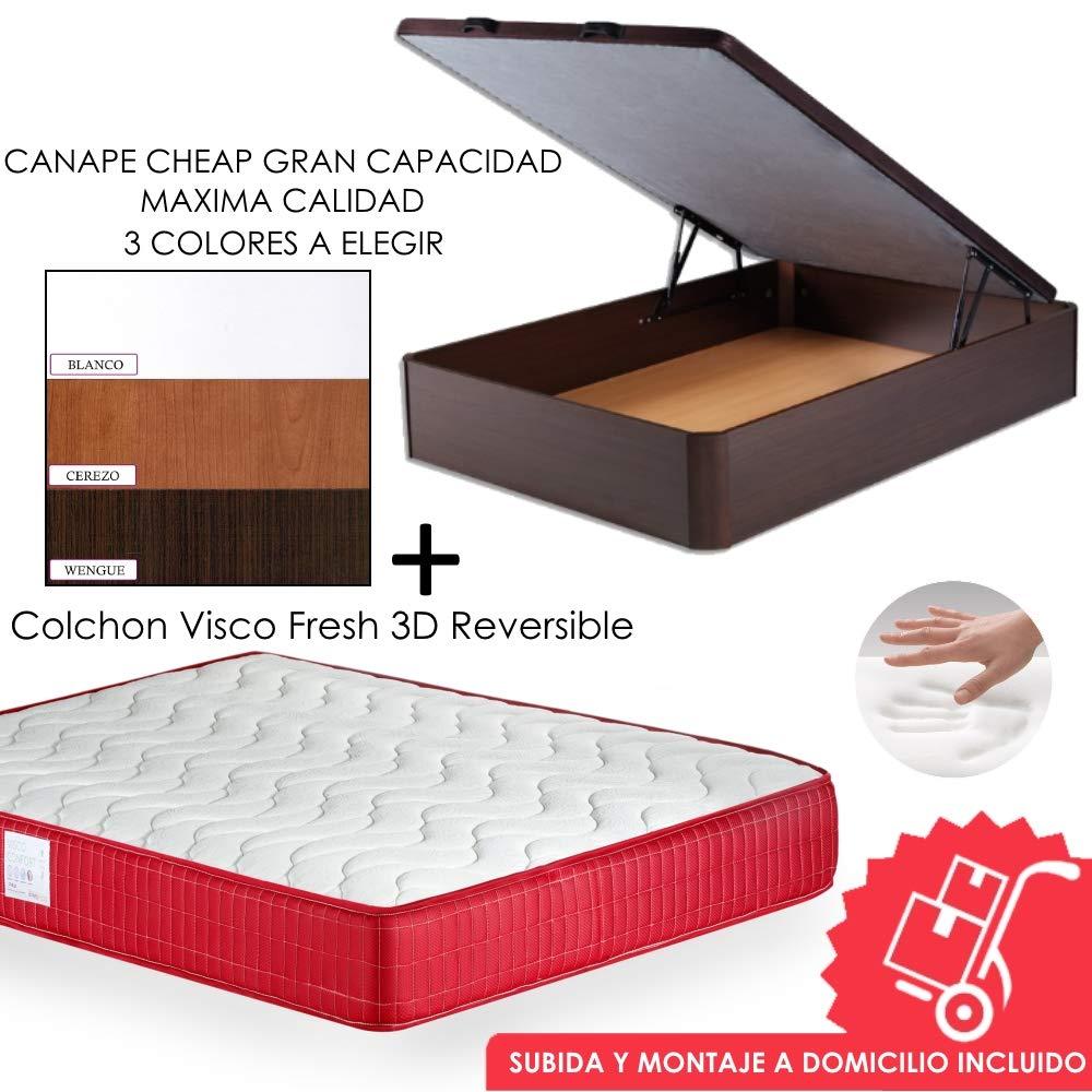 MICAMAMELLAMA Pack Canapé de Madera Cheap + Colchón Viscoelástico VISCO Confort Fresh 3D Reversible - Montaje Incluido (Cerezo, 150x190): Amazon.es: Hogar