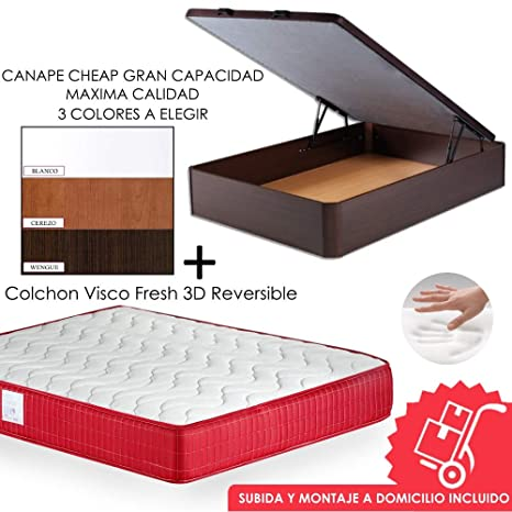 MICAMAMELLAMA Pack Canapé de Madera Cheap + Colchón Viscoelástico VISCO Confort Fresh 3D Reversible - Montaje