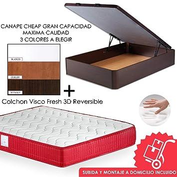 MICAMAMELLAMA Pack Canapé de Madera Cheap + Colchón Viscoelástico VISCO Confort Fresh 3D Reversible - Montaje Incluido (Wengue, 135x190): Amazon.es: Hogar