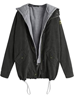 3dd1e99d5b5 ZAFUL Women s Patchwork Drawstring Corduroy Jacket Fleece Hooded Vest  Twinset Casual Oversized Jacket Coat
