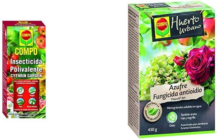 Compo Cythrin Garden Insecticida Polivalente, para Plantas hortícolas, arbustos y Ornamentales, 100 ml + Azufre fungicida anti oídio, Microgránulos solubles en agua, Para plantas ornamentales, 450 g