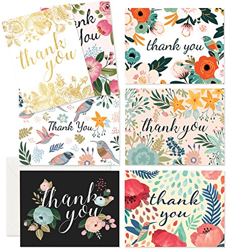Thank You Cards - 37 Beautiful Thank You Card - Blank Cards - White Envelopes Included - Bridal, Baby Showers and Business (37 Pack - Bonus 24K Gold Card) -