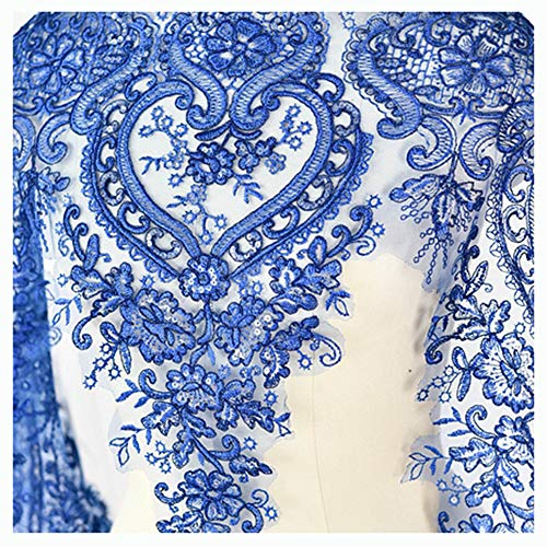 (Tong Gu Floral Lace Material Sequin Embroidery for Bridal Veil Dress Trim Edge by Yard (Sapphire Blue))