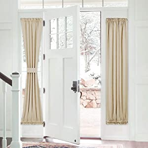 PONY DANCE Sidelight Door Curtain - Blackout Patio Panel Top and Bottom Rod Pocket French Door Curtain for Privacy Bonus Tiebacks, 25 x 72-inch, Biscotti Beige, Single Piece