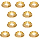 """Joywayus 3/4"""" Female Thread Brass Pipe Fitting Flange Hex Lock Nut For Plumbing and Nut Spacer Pipe Hose (Pack Of 10)"""