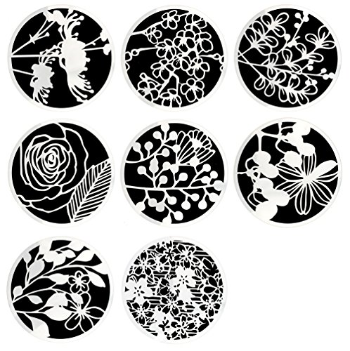 Flower Stencil (Hyamass 8pcs Mix Flower Stencils Round Shape Hollow Out Painting Stencils Drawing Templates)