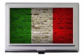 Drapeau Italie Motif Mur De Briques Porte Cartes Visite