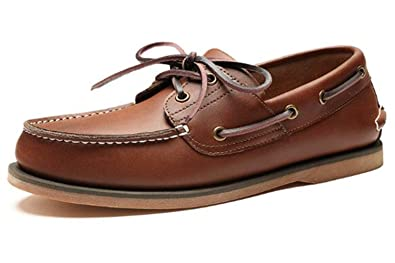 TM Men's Genuine Leather Slip-On Loafer Boat Shoes English Fashion Shoes