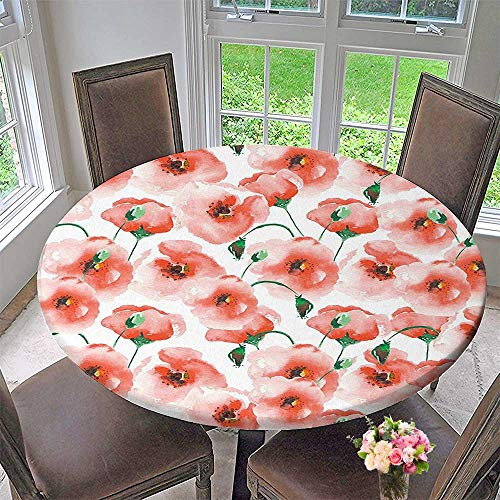Mikihome Elasticized Table Cover Poppy Poppies Twigs Bouquet Ornament Soft Color Classic Design Art Machine Washable 47.5