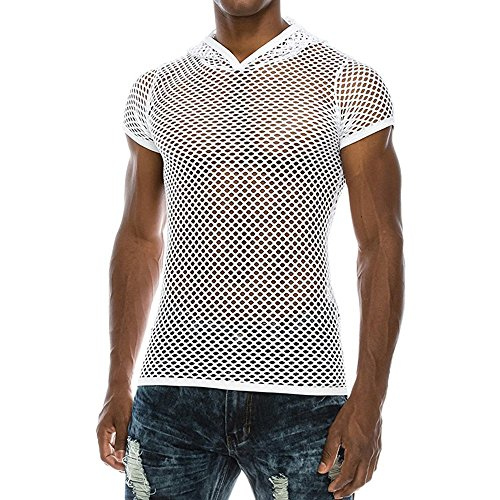 Respctful Mens Casual Muscle Mesh Hollow Out Fashion T-Shirt O-Neck Sleeveless Top Blouse (WhiteA, S)