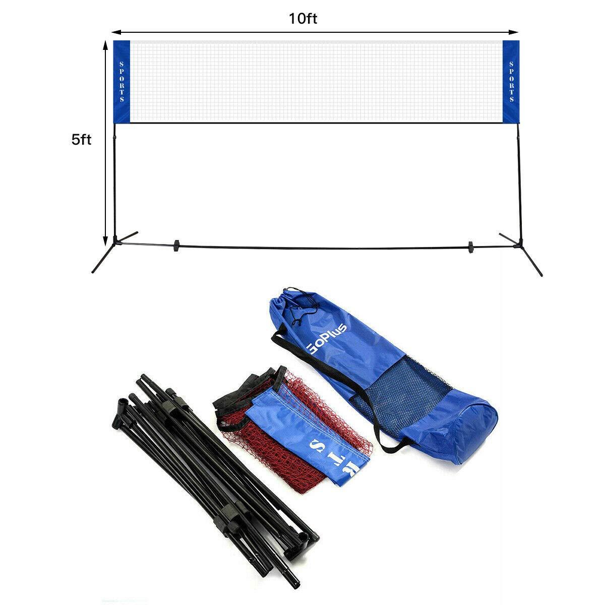 ビーチバレーボールテニスバドミントンポータブルネットトレーニング携帯バッグセット10 x 5 ft