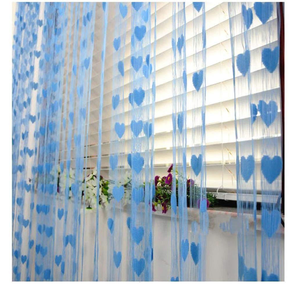 PiniceCore 100 200cm Romantico Stringa a Forma di Cuore Tende Trasparenti per la Cucina Soggiorno Camera da Letto 9 Colori