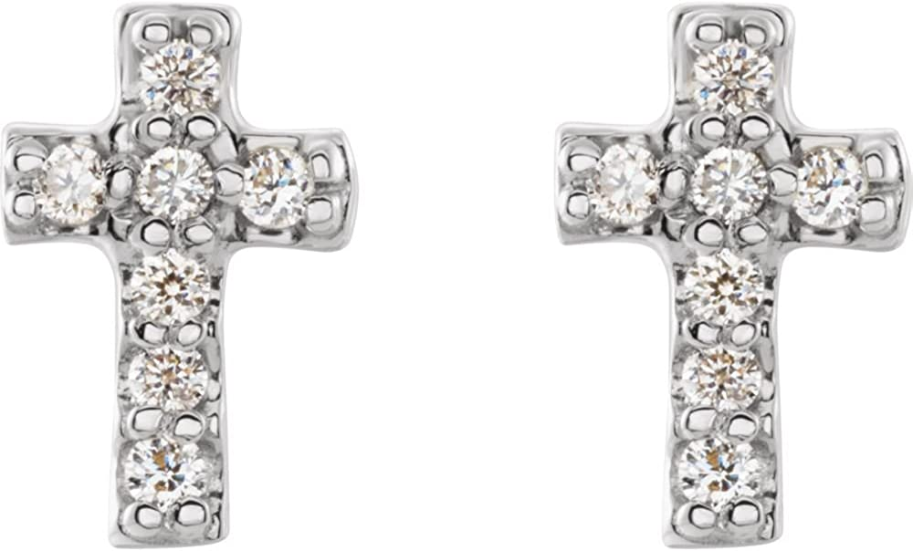 Jewels By Lux Set 14k White Gold 7X4.5 mm 0.06 CTW Pair Polished .06 CTW Diamond Cross Earrings With Backs