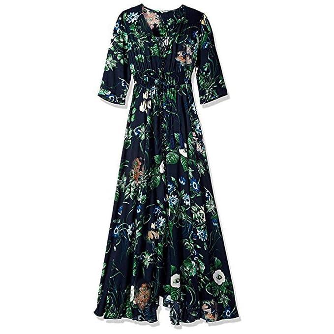 Vestidos largos mujer, Amlaiworld Vestidos mujer verano Vestido largo fiesta larga fluido Vestido de borlas florales de Split para mujer Vestido de playa: ...