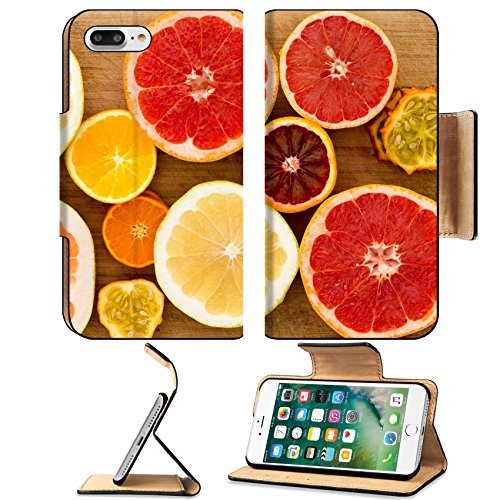 Luxlady Premium Apple iPhone 7 Plus Flip Pu Leather Wallet Case iPhone 7 Plus 25892854 Colorful festive assortment of halved citrus fruit arranged on a wooden board with a variety o