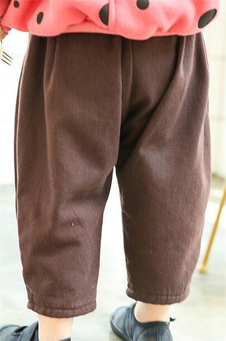 Fulok Boys Fashion Elastic Flat Front Fleece-Lined Pure Color Pants Coffee 5T