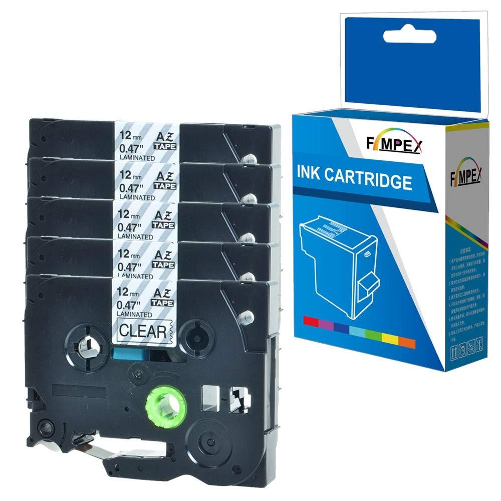 9mm Reemplazo para Brother PT-1010 1090 1230PC 1280 1280DT 1290VP 1830VP 2420PC 2430PC 2450DX 2500PC 2700VP 2730VP 300BT 3600 550 TZ621 Fimpex Compatible Casete 3//8 Negro Sobre Amarillo, 4-Pack