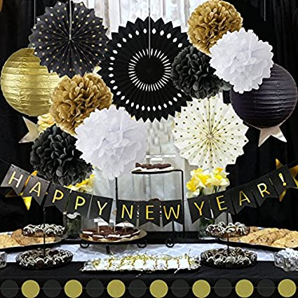 Happy New Year Party Decorations Black White Gold Tissue Paper Pom Pom Paper Tassel Garland for Great Decorations// New Years Eve Party //Birthday Decorations//Bridal Shower Decorations Fascola
