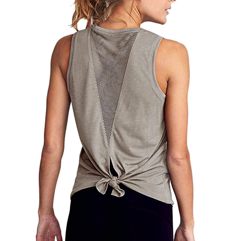 Mlide Mujeres Yoga Lindo entrenamiento de Malla Camisas Activewear Sexy espalda abierta Deportes Tank Tops Gray