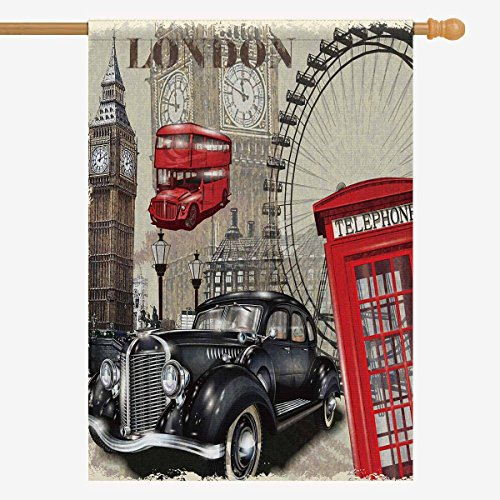 InterestPrint Vintage London Big Ben Car and Red Telephone B