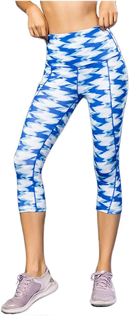 Sanke Womens Printed Yoga Compression Capri High Waist Tummy Control 3//4 Leggings