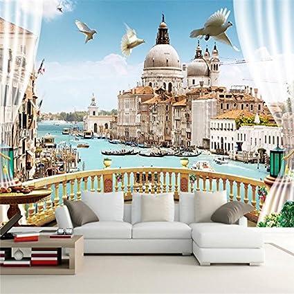 Wapel Custom Photo Wallpaper Sticker Aesthetic Window Outside Terrace Roman Landscape 3D Background Wall 150Cmx105Cm