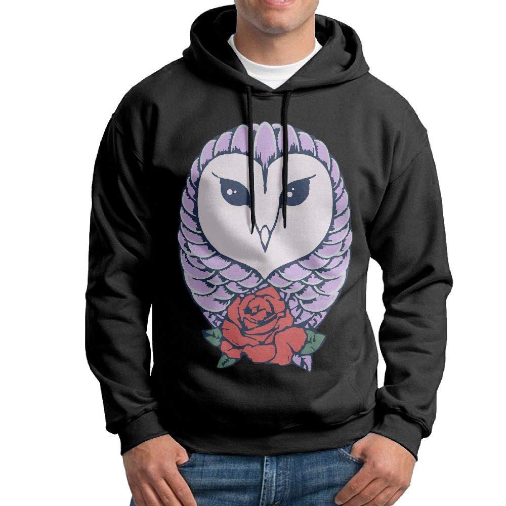 Mens Owls Roses Patterns Print Athletic Pullover Hood Fashion Sweatshirts