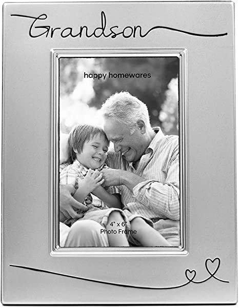 Amazon Com Haysom Interiors Beautiful Two Tone Silver Plated Grandson 4 X 6 Picture Frame With Black Velvet Unique And Thoughtful Gift Idea