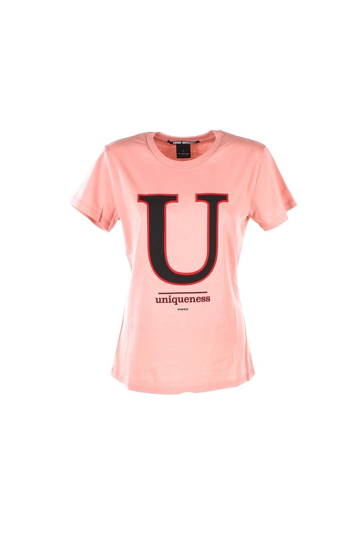 Pinko T-Shirt Donna L Rosa/Beige Ciuffo Autunno Inverno 2018/19