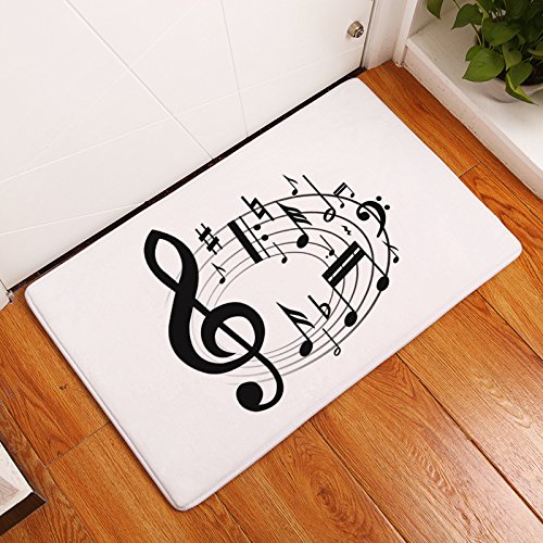 YQ Park Music Note Black and White Entrance Mat Inside Washable Apartment Garage Front Porch Decor Office Foyer Hall - Note Folded Chevron