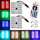 remote auto led lights - EverBrightt 1-Set(2PCS) RGB 5050 24SMD LED Panel Dome Light Auto Remote Controlled Colorful Led Lamp DC 12V with T10 BA9S Festoon Adapters