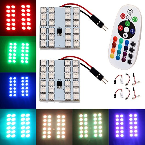 Lamp Replacement Auto - EverBrightt 1-Set(2PCS) RGB 5050 24SMD LED Panel Dome Light Auto Remote Controlled Colorful Led Lamp DC 12V with T10 BA9S Festoon Adapters
