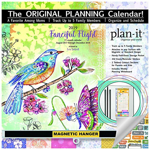 2019 Family Plan It Wall Calendar with Pockets for Each Month - 2019 Fanciful Flight Family Plan-It Wall Calendar Bundle with Magnetic Hanger, Planning Board and Over 540 Calendar Stickers