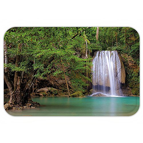 VROSELV Custom Door MatWaterfall Decor Waterfall in Nature Ambient in the Forest of Thailand with Oak Tree Green and - White Oaks Ma