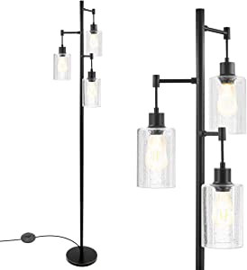 Industrial Floor Lamp, Standing Tree Lamp with 3 Hanging Bubble Glass Shade & 3 ST58 Edison LED Bulbs, Retro Rustic Indoor Pole Tall Light Over The Couch, Great Decor for Home, Safe Sturdy Base