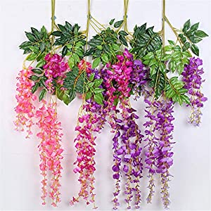Mikilon Artificial Wisteria Hanging Vine 10 Pack 3.6FT/pcs, Fake Silk Flowers in Natural Chain Garland for Outdoor Wedding Ceremony Arch Party Home Garden Decor (Purple) 5