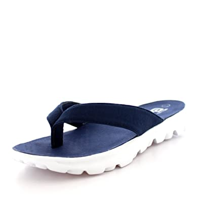 28c8a8076 Mens Lightweight Toe Post Flip Flop Sports Walking Summer Sandals Shoes -  White Navy -