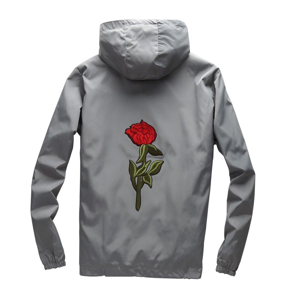Amazon.com: Chaqueta ligera con diseño de rosas y flores ...