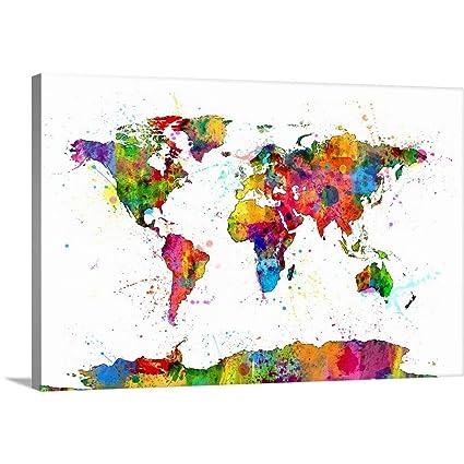 Amazon michael tompsett premium thick wrap canvas wall art michael tompsett premium thick wrap canvas wall art print entitled map of the world map publicscrutiny Gallery
