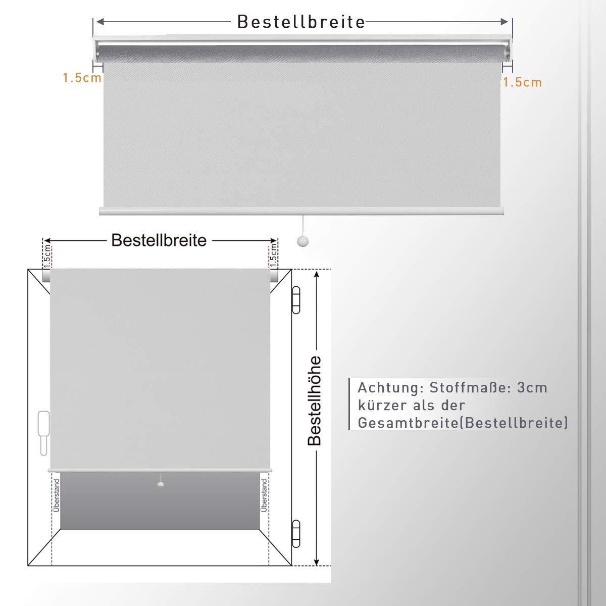 HOMEDEMO Store Enrouleur occultant de Ressort 60 x 195 cm Blanc,Rideau de Levage r/églable,Store occultant Printemps Automatique pour Fen/êtres Isolant Thermique Opaque