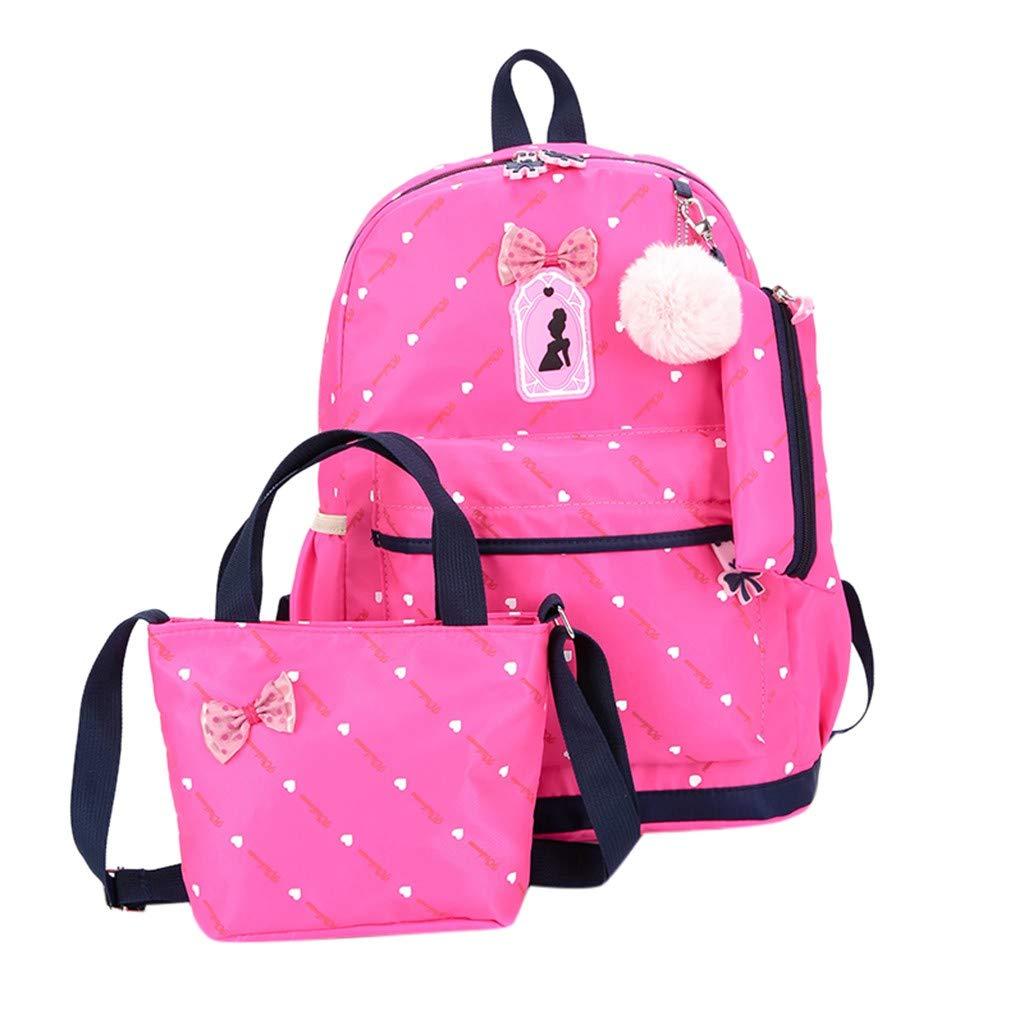 d6cbe5a97312 Amazon.com: Summer May Deals!DDKK bags Three-Piece School Bag Canvas ...