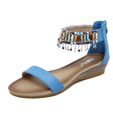 Damen Sandalen Anti-Skid-Plattformen Schuhe Clip Toe Beach Sandale Elegant Roman Bequeme Schuhe 35-42