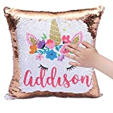 Yamii Unicorn Mermaid Pillow Case Magic Reversible Sequin Cushion Cover Decorative Cushion Cover Throw Pillowcase for Home Sofa Bed Car Decor 15.7 x 15.7 in (Golden)