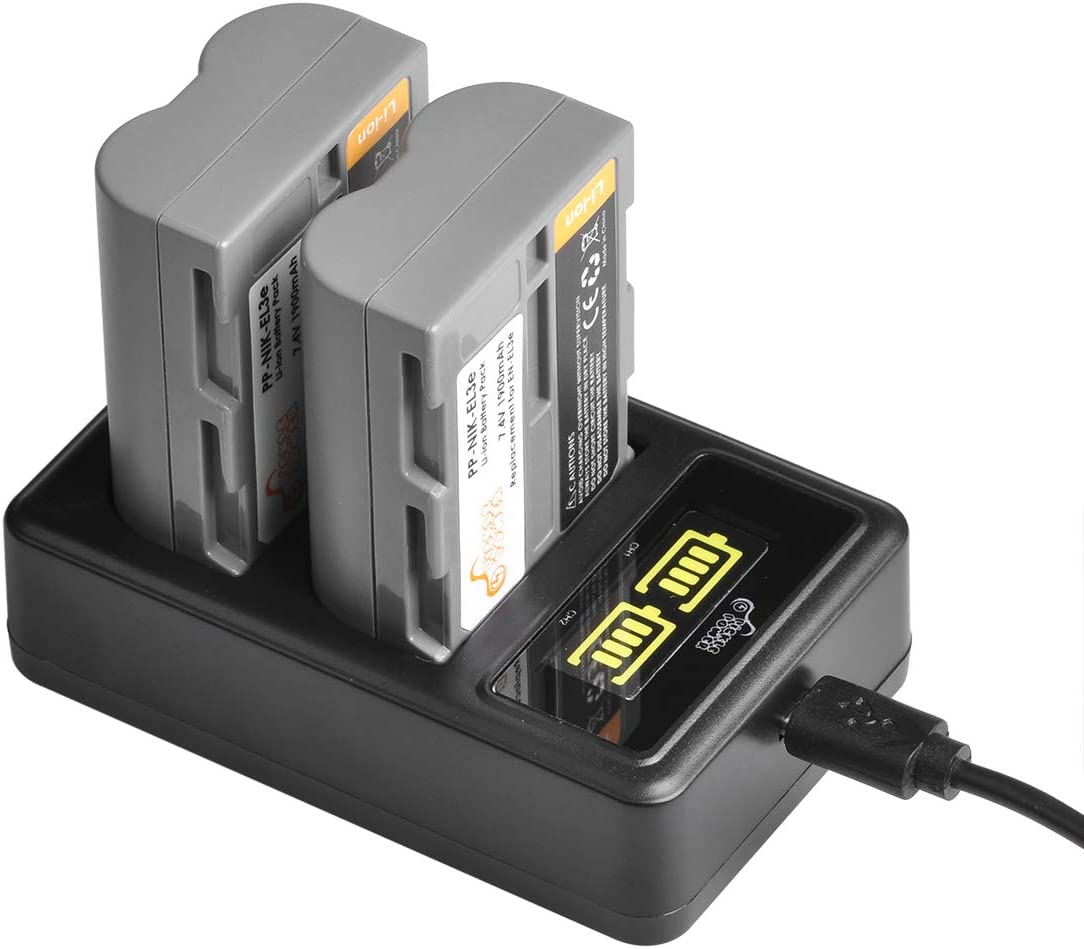 EN-EL3E,2 Pack Batteries and LED Dual USB Chager for Nikon D700 D90 D300S D300 D200 D80 D50 D70S D70 D100 D900 Digital Cameras