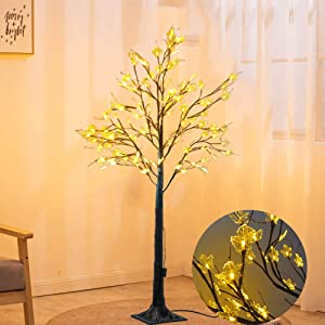 ZIOTHUM Maple Tree with Lights 6ft 128LED Lighted Artificial Fall Tree Christmas Decorations Thanksgiving Decor for Bedroom Party Wedding Office Home Outdoor and Indoor Use