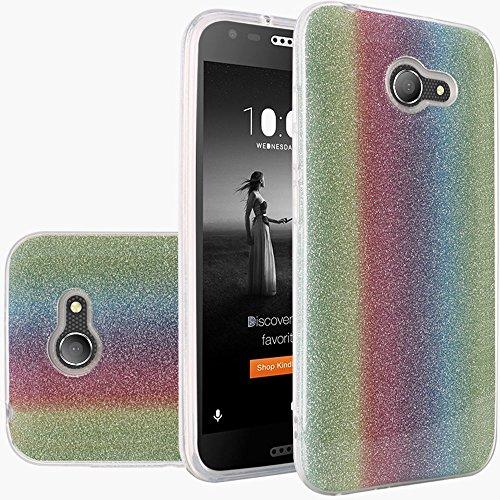 Alcatel Zip LTE , Alcatel A577VL A576BL, Alcatel Kora - Shiny Sparkling Pink Glitter TPU Hybrid Silicone Protector Cover Case (Rainbow)
