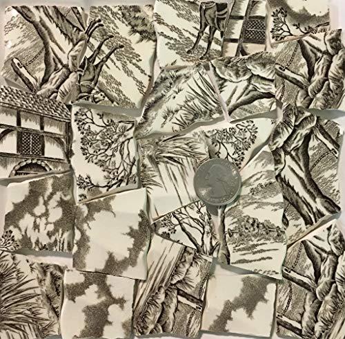 Mosaic Art & Crafts Supply ~ Brown & White Vintage Transferware Rim Tiles (B923)