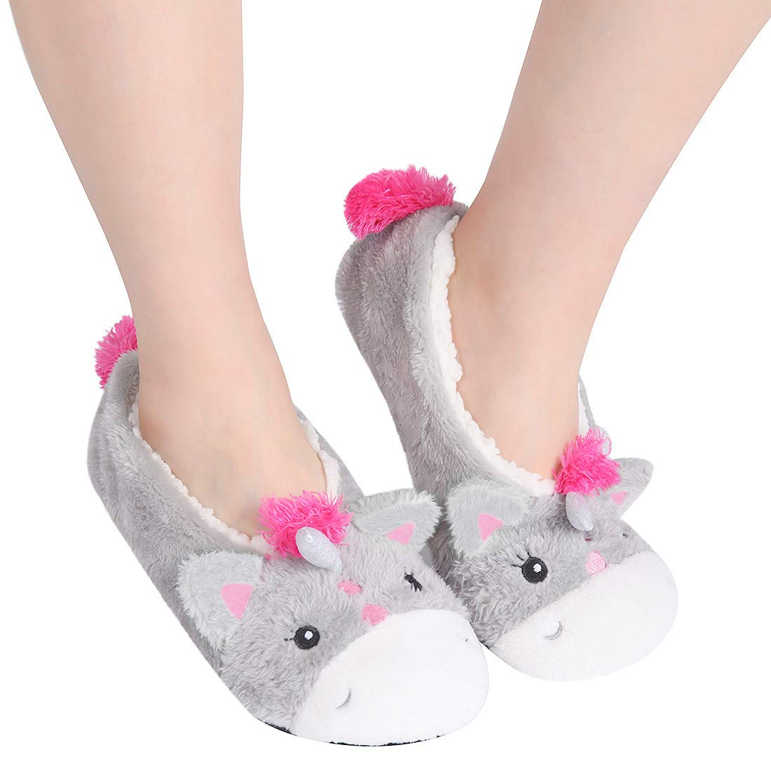 ChicNChic Ladies Christmas Gift Cartoon Warm Low Cut Fleece Lined Socks Non-Slip Unicorn Sheep Ankle Slipper Socks Unicorn)