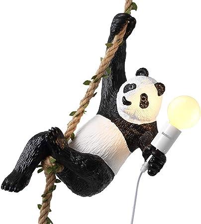 SEEKSUNG Lustre Niveau d/énergie A Lampe pendante r/étro r/églable de Lampe de Restaurant Lampe danimal de Panda Lustre en r/ésine