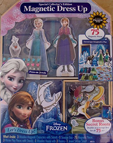 Disney FROZEN Wooden MAGNETIC DRESS UP & PLAYHOUSE CASTLE Set w 75 Magnetic WOOD PIECES, 3 Wood Magnetic CHARACTERS & Stands (ELSA - ANNA - OLAF), Press On JEWELS, STORAGE BOX & Lots More! (2015) (Magnetic Playhouse)